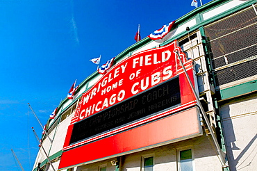 Wrigley Field, home of the Chicago Cubs baseball team, stadium sign, Wrigleyville, Chicago, Illinois, USA