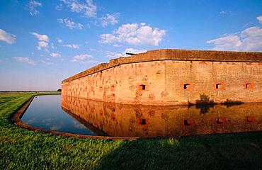 Fort Pulaski National Monument, last fort built in USA, in morning light showing Civil War damage, Savannah, Georgia, USA