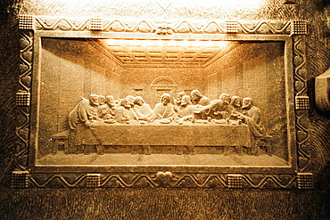 Undreground Last Supper relief made of salt at historic Wieliczka salt mines (built 1300's), Poland