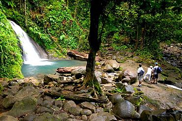 French West Indies (FWI), Guadeloupe, Basse-Terre, Route de la Traversee: Parc Nationale de la Guadeloupe: Cascade aux Ecrevisses Waterfall, with Visitors