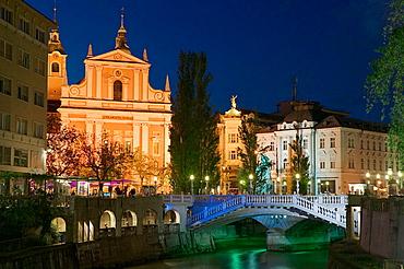 Evening View of Franciscan Church, Presernov Trg Square and Ljubljanica River, Ljubljana, Slovenia, 2004.