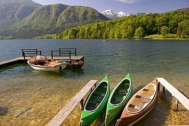 Lake Bohinj, rental boats, Ribcev Laz, Gorenjska, Slovenia.