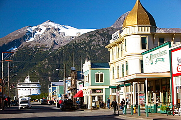 Broadway Street, Morning, Skagway, Southeast Alaska, USA.