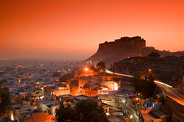 Meherangarh Fort, Evening, Jodhpur, Rajasthan, India.