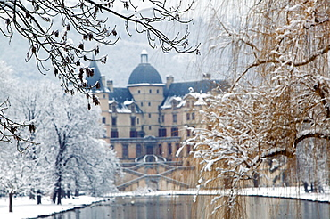Chateau de Vizille Park after winter storm, Vizille, Isere, French Alps, France.