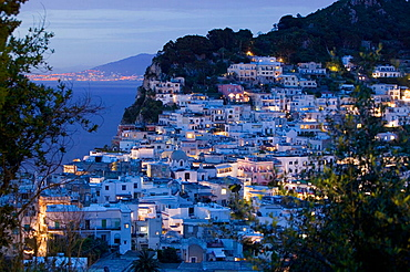 Evening View of Capri Town from via Castello, Capri, Bay of Naples, Campania, Italy.