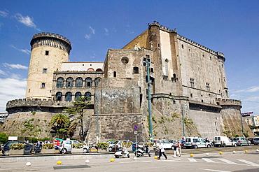 Castel Nouvo from Ferry Port, Naples, Bay of Naples, Campania, Italy.