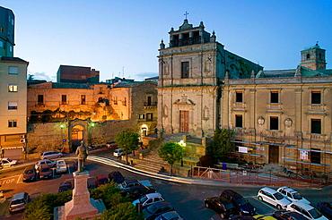 Piazza Colaianni & Santa Chiara Church from Grande Albergo Sicilia Hotel in the evening, Enna, Sicily, Italy