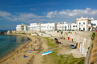 View of Old Town Beach, Gallipoli, Puglia, Italy