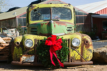 Old Pickup truck with Christmas Decorations, Panhandle Area, Childress.Texas, USA.