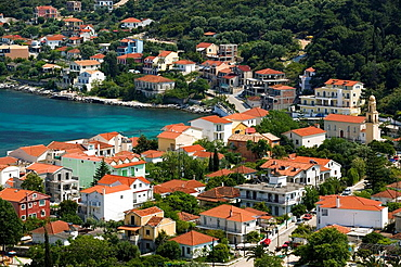 Town View on Efymia Bay, Agia Efymia, Kefalonia, Ionian Islands, Greece.