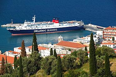 Town View with Greek Island Ferry from Hills, Vathy (Samos town), Samos, Northeastern Aegean Islands, Greece.