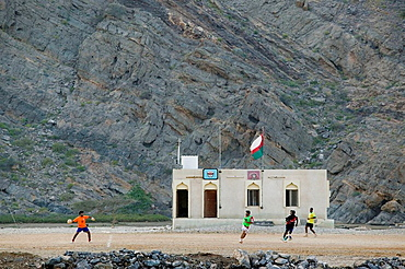 OMAN-Gulf of Oman-Yiti: Town Building and Soccer (Football) Field