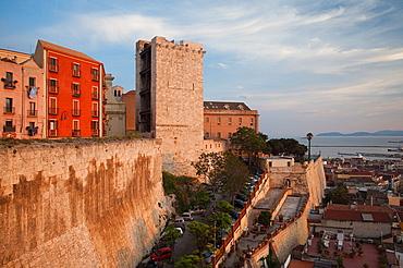 Italy, Sardinia, Cagliari, Il Castello Old Town, Torre dell' Elefante tower, sunset