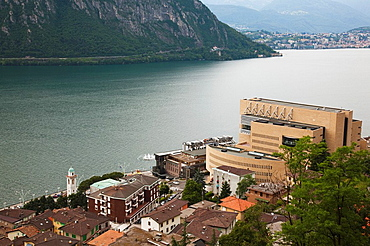Italy, Lombardy, Lake Lugano, Campione D'Italia, Casino di Campione, Mario Botta, architect, high angle view