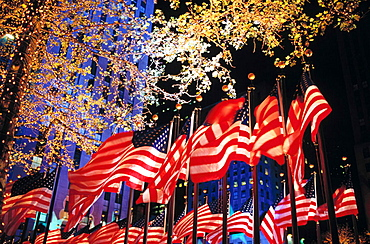 United States Flags ring Rockefeller Center on Election Night, Fifth Avenue, Manhattan, New York City, USA