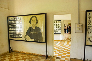Cambodia Phnom Penh Tuol Sleng Genocide Museum Photographs of inmates of Khmer Rouge's S21 prison
