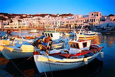 Fishing boats in Mykonos Harbour, Greece