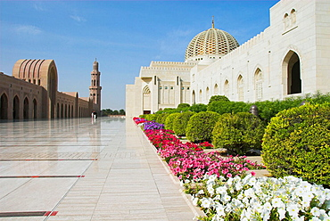Gardens and main roof dome, Sultan Qaboos Grand Mosque, Muscat, Oman