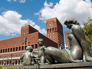 City Hall and Statues, Oslo, Norway