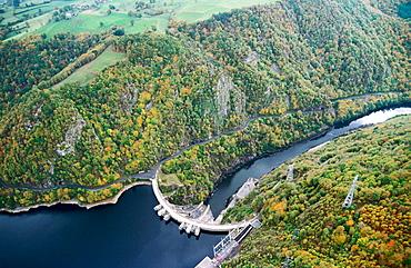 Aerial views of the Barrage de Mareges dam, Correze, France