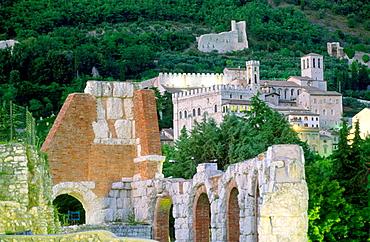 Roman teatre and Palazoo dei Consoli, Gubbio, Umbria, Italy