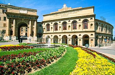 Sferisterio and Porta Mercato (Market Gate) in Macerata, Marche, Italy