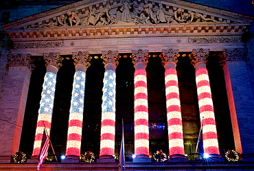 Holiday decorations on the New York Stock Exchange building, New York City, USA
