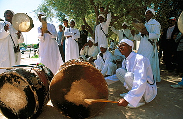 Musicians during local traditional festival, Great Atlas, Dades Valley region, Morocco