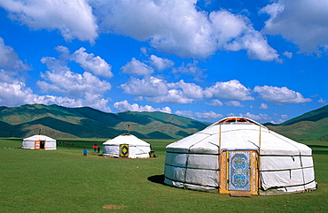 Yourts (nomad tent in Orkhon Valley, Ovorkhangai province, Mongolia