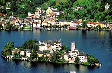 San Giulio island, Lake Orta, Piedmont, Italy