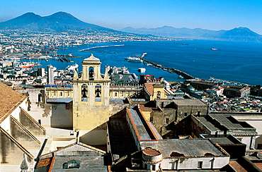 San Martino and bay of Naples Italy with Volcano Vesuvius in distance, Campania, Naples, Italy
