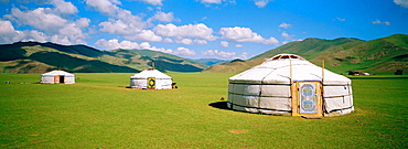 Yourts (nomad tents) in Orkhon Valley, ovorkhangai province, Mongolia
