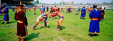 Wrestling tournament, Naadam festival, Oulaan Bator, Tov province, Mongolia