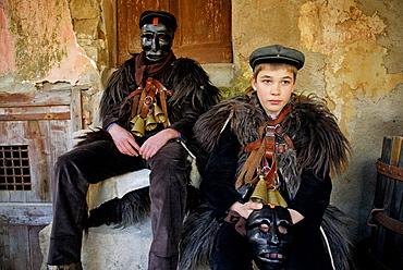 Canival with 'mamuthones' mask, Mamoiada, Nuoro province, Sardinia, Italy
