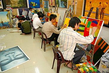 Vietnam, Hanoi, Painting school.