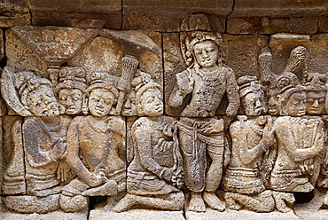 Borobudur Buddhist stupa, The Borobudur stupa dates to the ninth century A.D, UNESCO world heritage, Around 1460 relief sculpture, Java island, Indonesia.