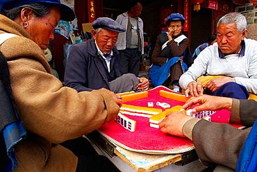 China, Yunnan province, Baisha village around Lijiang, Majhong players.