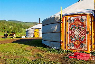 Mongolia, Ovorkhangai province, Yurt camp, Okhon valley.