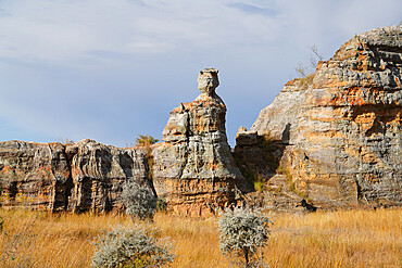 Eroded sandstone Queen rock formation, Isalo National Park, Fianarantsoa province, Ihorombe Region, Southern Madagascar