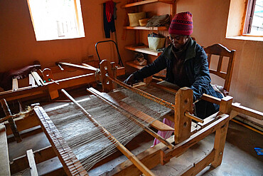 Silk weaver at work, Soatanana, Fianarantsoa province, Ihorombe Region, Southern Madagascar