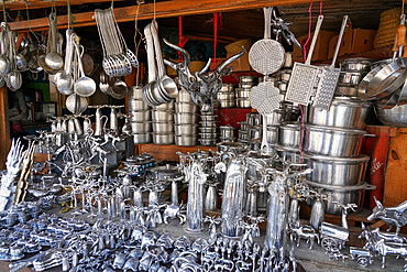 Aluminium pots shop in Ambatolampy, Antsirabe, Central Madagascar