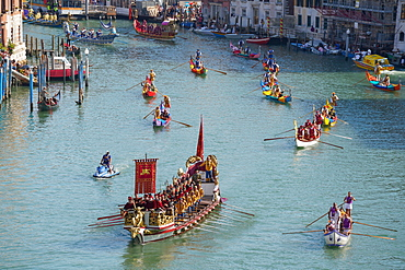 The boats of the historical procession for the historical Regatta on the Grand Canal of Venice, UNESCO World Heritage Site, Veneto, Italy, Europe