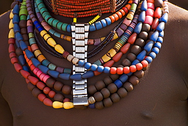 Close-up of bead necklaces of a Hamer woman, Turmi, Omo region, Ethiopia, Africa