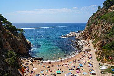El Codolar beach, Tossa de Mar, Costa Brava, Catalonia, Spain, Mediterranean, Europe