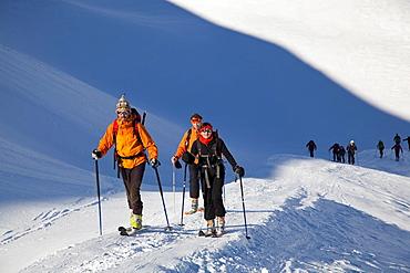Ski mountaineering in the Dolomites, Pale di San Martino, Cima Fradusta ascent, Trentino-Alto Adige, Italy, Europe