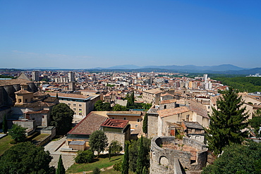 View of Girona from the old city walls, Girona, Catalonia, Spain, Europe