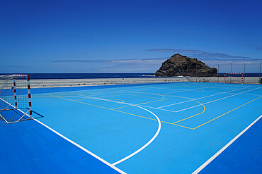 Concrete pitch in the town of Garachico on the northern coast of Tenerife, Canary Islands, Spain, Atlantic, Europe
