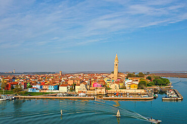 Aerial view of Burano island, Venice Lagoon, UNESCO World Heritage Site, Veneto, Italy, Europe