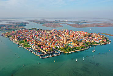 Aerial view of Burano island with Torcello island in the background, Venice Lagoon, Veneto, Italy, Europe